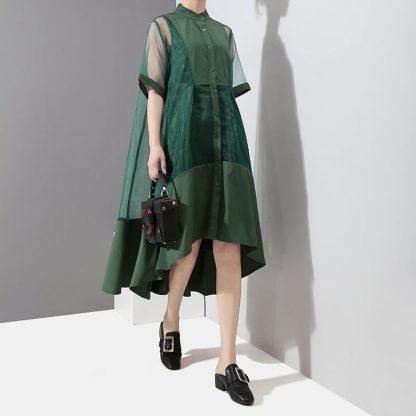 8868028695 1782961829 416x416 - New Fashion Patchwork Green Black Midi Mesh Dress
