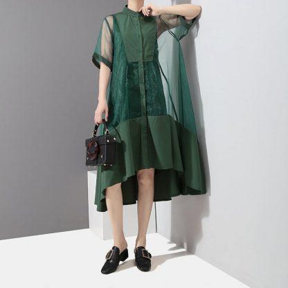 8868064157 1782961829 416x416 - New Fashion Patchwork Green Black Midi Mesh Dress