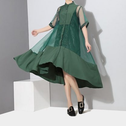 8884802742 1782961829 416x416 - New Fashion Patchwork Green Black Midi Mesh Dress